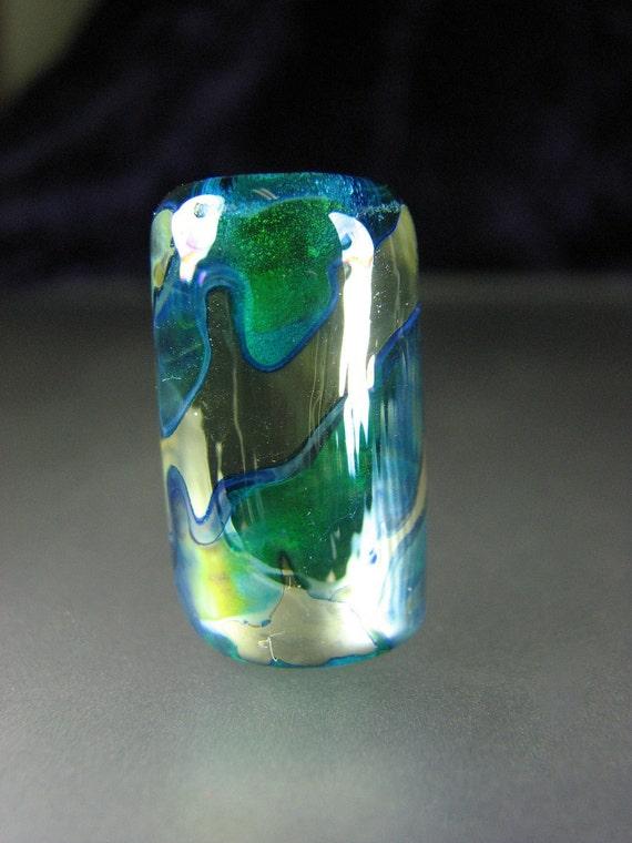 Dreadlocks  Lampwork Glass Bead Blue Green SRA