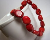 Red Coral Nugget Necklace         SALE