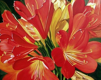 Oh, Clivia - Large Giclee Print on High-quality Canvas