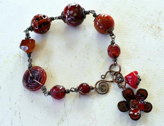 Really Red - Artisan Glass,  Enamel, Czech Glass, Carnelian, and Copper Bracelet