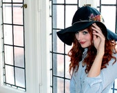 Black Felt Floppy Hat with Leather Band and Feathers