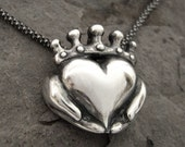 Handmade Claddagh Necklace - Ready to Ship, Claddagh pendant, Sterling Claddagh, Celtic Jewelry, Irish Promise Pendant, Gift for her