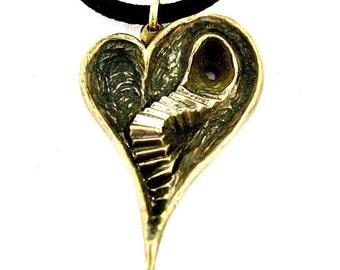 Brass Heart Ache - Handmade Brass Necklace - Double Sided Heart Design - Pendant Gift - Valentine's Gift - Gift For Her- Rickson Jewellery 1