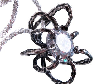 Sweet Spot Spider Necklace on SALE for 95 regular 135, Choose your Birthstone, Creepy Gift for her, Glamorous Halloween or Christmas Gift