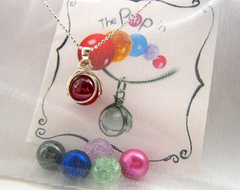 The POP in Family Necklace - 5 Colored Birthstone Glass Marbles - Personalize - Christmas - Gift For Mom - Coworker - Friend - Rickson