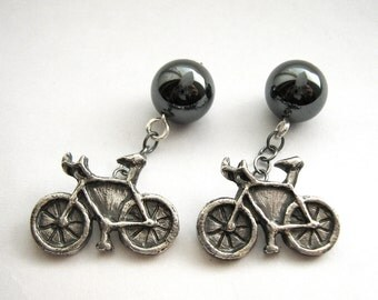 Bike Cufflinks - Silver Mens Nature Gift - Formal Groom Jewelry featuring Hematite Mechanism - Handmade by Rickson Jewellery