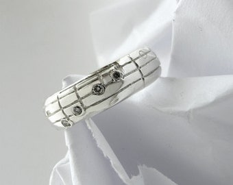 Your Song Diamond Wedding Ring - Custom Notes to Your Favourite Song - Personalized Engraving - Unique Design - Rickson Jewellery