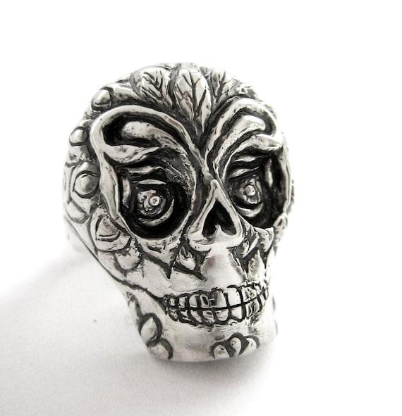 SALE 75 regular 165, Day of the Dead Sugar Skull Ring, Handmade Day of the Dead Skull Ring in Sterling silver on SALE, Goth Skull Ring Biker