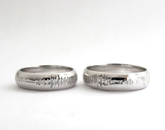Sounds of Love - 2 Personalized Sound Wave Wedding Rings -  Nerd - Geek - Geekery - Geek Chic - Hand Engraved - White Gold - Rickson