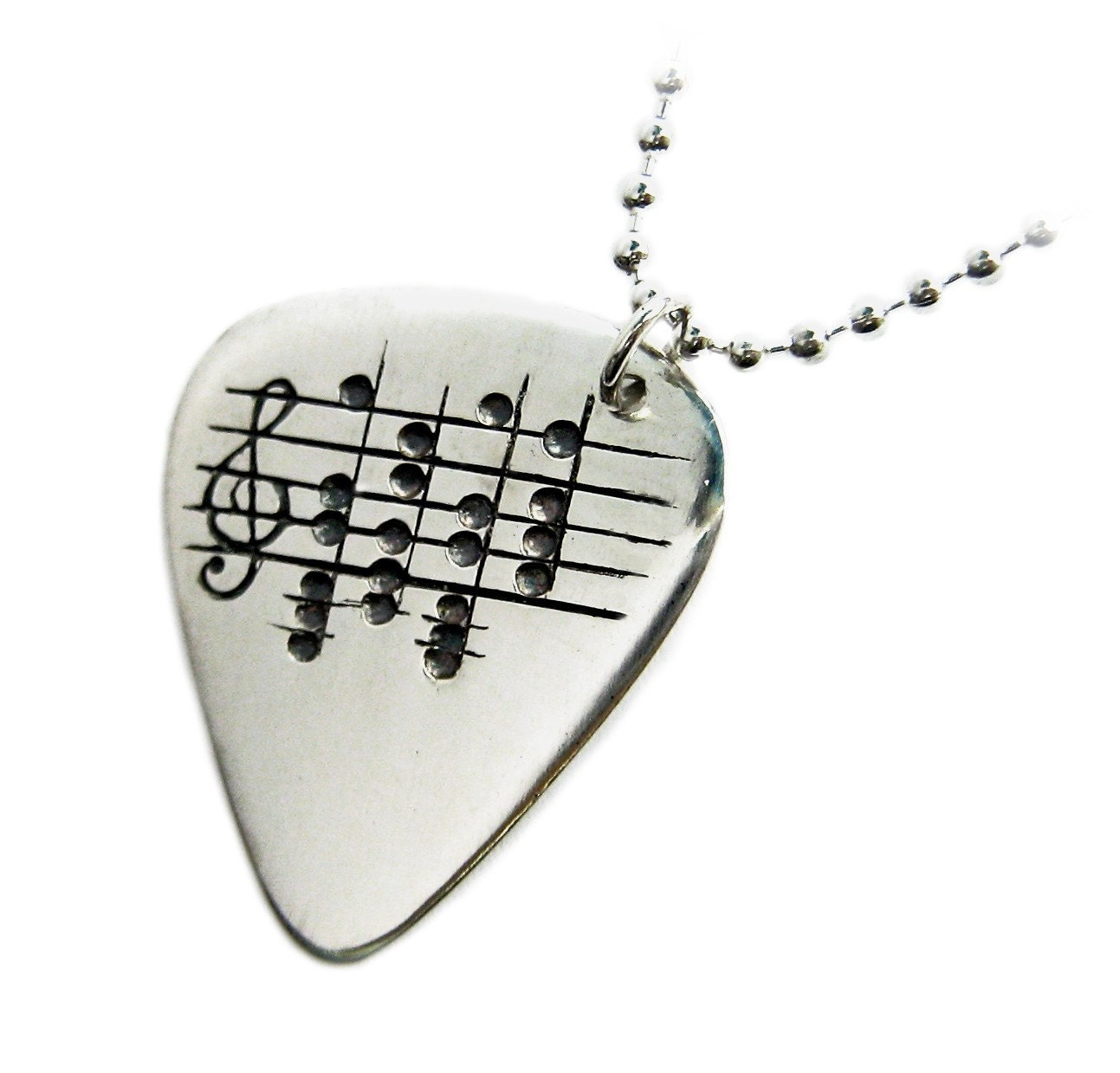 Your Song Guitar Pick Necklace Custom Engraved Notes To Your