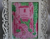 Framed Lilly Pulitzer Palm Beach Toile Fabric - Features Via Mizner Shopping Vignette