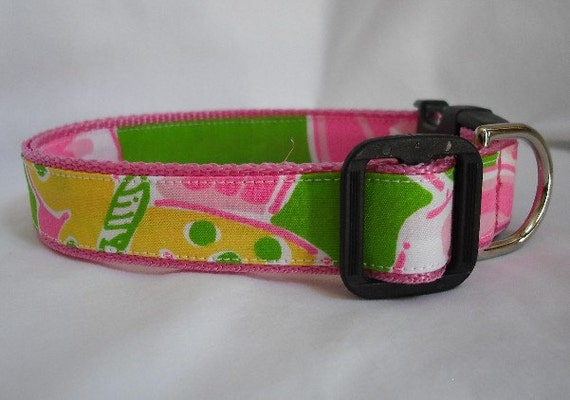 SALE Lilly Pulitzer Maui Punch Fabric Handmade Dog Collar Size: Large