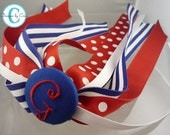 Polka dot & stripes hair bow, custom cheer ponytail streamer bow- monogrammed initial personalized, any colors