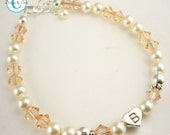 Flower Girl Bracelet, Peach Crystals/ Cream pearls, Personalized Initial, Baby or Girl Jewelry