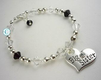 Big Sister Bracelet, Black Crystal Searovski, Charm Baby Girl Bracelet, Custom Sister Jewelry