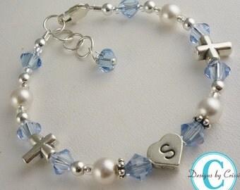 Light Sapphire Baptism Bracelet, Girl Baby Christening Bracelet, First Communion- any crystal colors with cross beads