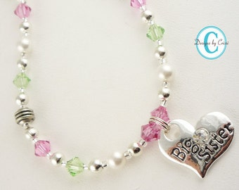 Design your own Big Sister Necklace/ Little Sister Necklace/ Girl jewelry for new baby- pink green or any crystals