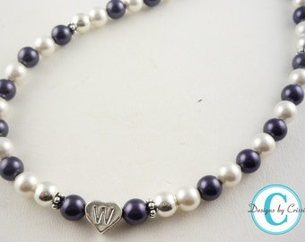 Girl's Necklace with Personalized Initial- Flower Girl- Birthday gift, custom purple white pearls , many colors