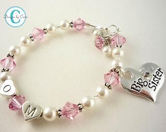Pink white swaorvski Big Sister bracelet