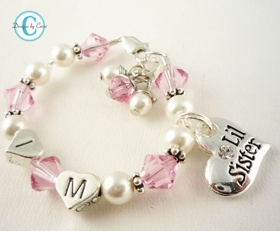 Little Sister Bracelet or Big Sister Bracelet, Personalized Initial jewelry for girls - pink crystal white pearl swarovski