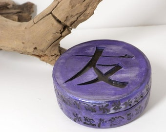 Friendship Treasure Jewelry Trinket Box Chinese Kanji Violet Purple- MADE to ORDER