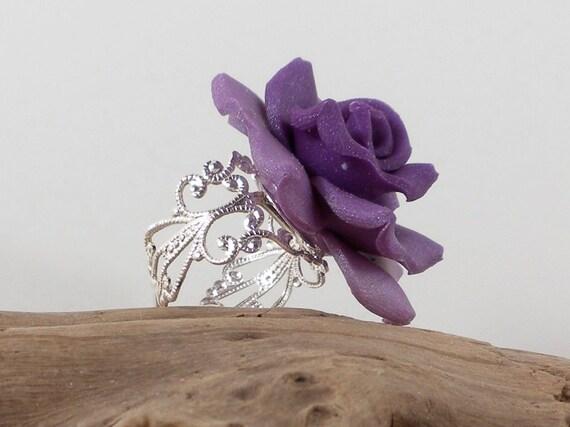 Purple Rose Filagree Ring - Polymer Clay - Handmade
