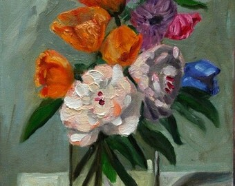 Flowers in a Vase, 11 x 14 Original Oil Painting