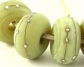 Silvered Green Tea-- Made To Order-- Lampwork Beads by  CanyonEchoes SRA