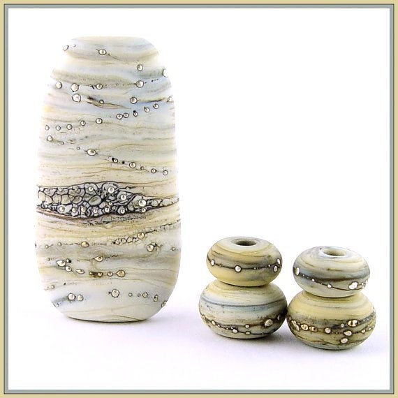 Winter Branches Lampwork Bead Set by Canyon Echoes SRA