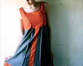 Medieval Short dress, Wool Dress, Short silk dress, winter dress, Wool tunic dress, orange and grey tunic dress, Medieval Costume