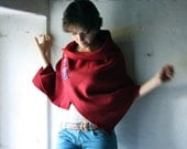 Red wool Poncho with handwoven detail