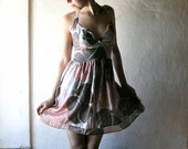 Flowery Silk Party Dress in pink and ecru with printed flowers