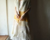Handwoven shawl with lace  in ivory, blush and golden yellow