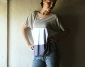 Striped top - womens Tshirt oversized tank top in purple white and grey jersey