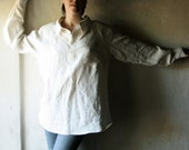 Mens shirt white linen long sleeved shirt unisex - larimeloom