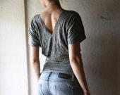 Grey V-neck batwing Jersey Tshirt Top