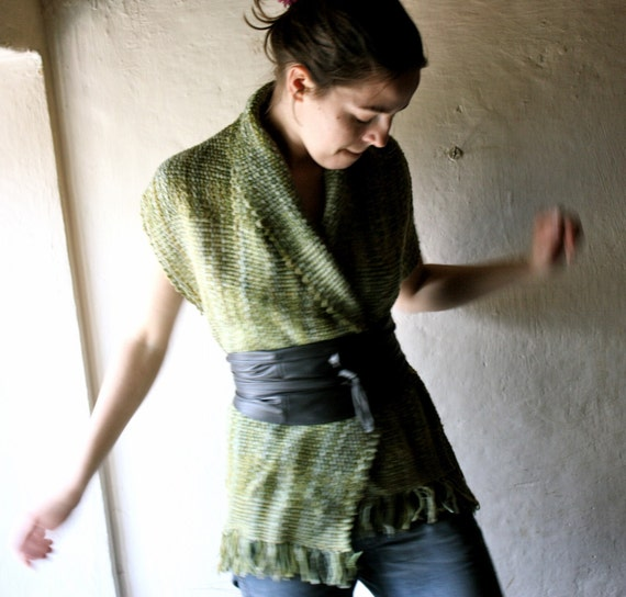 Grassy Green Naturally dyed hanwoven shawl