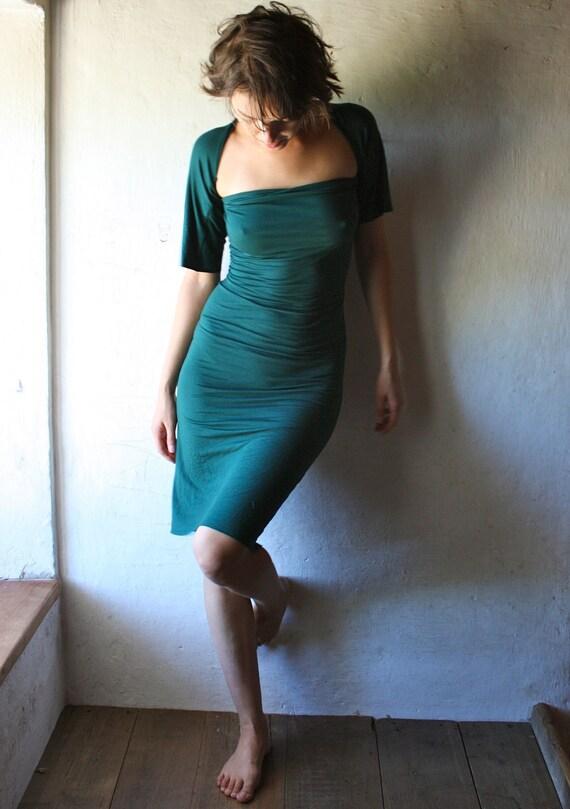 Teal Jersey tunic Dress - short sleeved
