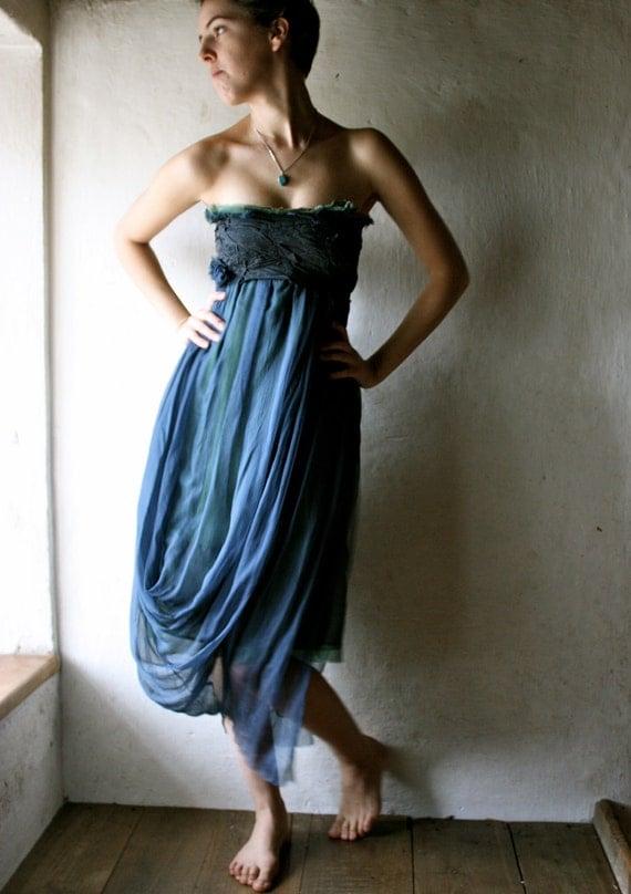 Blue silk party Dress