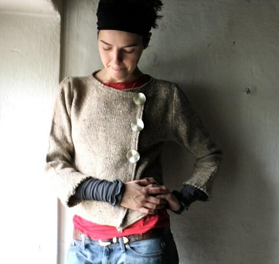 Handwoven Jacket Coat Sweater ecru wool