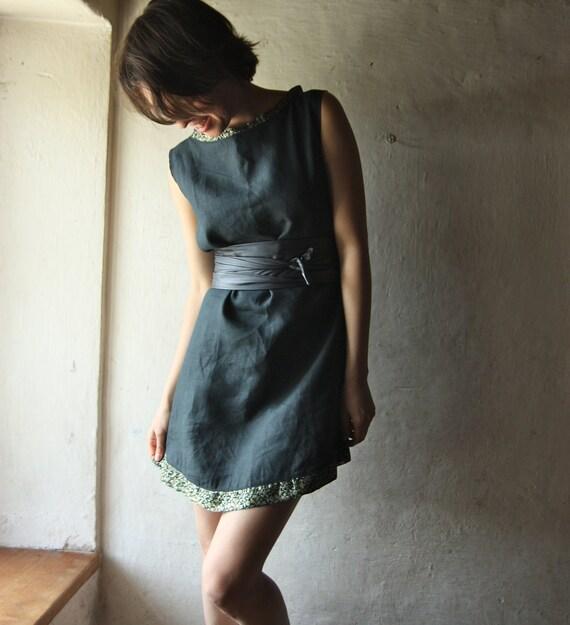 Teal Linen Tunic Shift dress