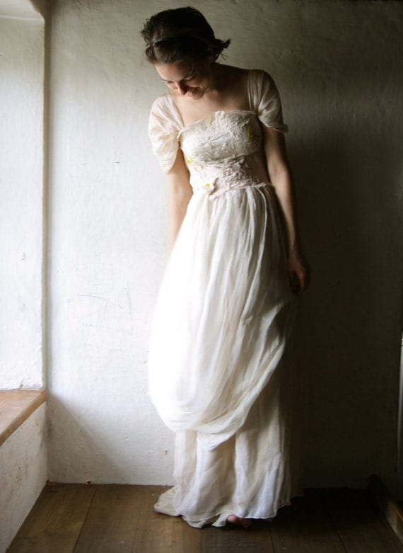 Floor Length Wedding Dress in ivory and blush silk and cotton - ready to ship