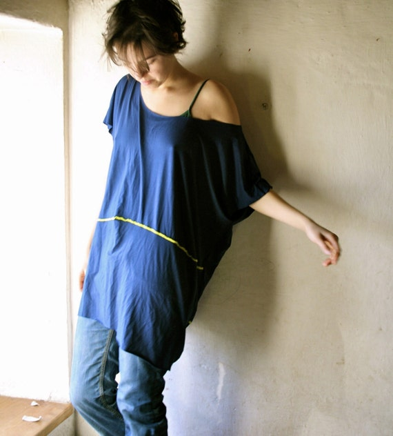 Loose fitting Tshirt dress in Rich Blue jersey