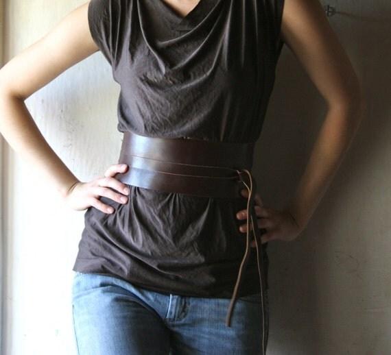 obi belt brown leather 3 5 inchewide wrap waist by larimeloom