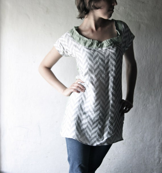 Linen Tunic dress - Mini tshirt dress in grey geometric weave and green