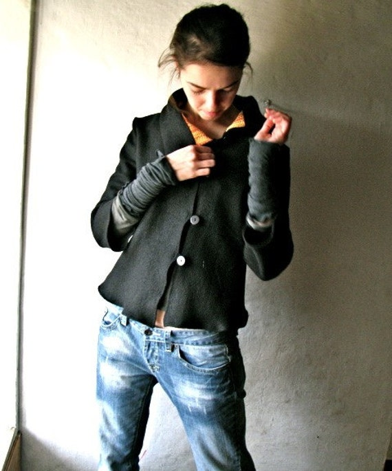 Wool Jacket, Black blazer, Womens jacket, Black cardigan, Black sweater, Womens clothing, Layering top, winter coat, wool blazer, petite