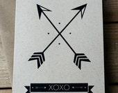 Crossed Arrows - XOXO - Hand Printed Silkscreen Greeting Card / Note Card - Blank Inside