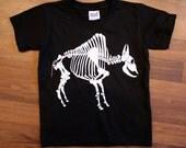 SALE - Buffalo Bison Skeleton Children's Tee - Youth XS & S - hand printed silkscreen Reg 15 dollars.
