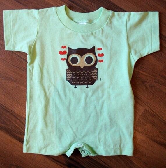 SALE - OWL infant romper - 18m - hand printed silkscreen -Reg 17 dollars, now only 5 dollars