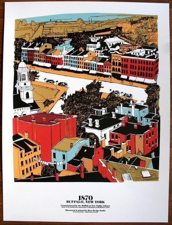 1870 Buffalo, New York - 18 x 24 Limited Edition Silkscreen Art Print - Hero Design Studio